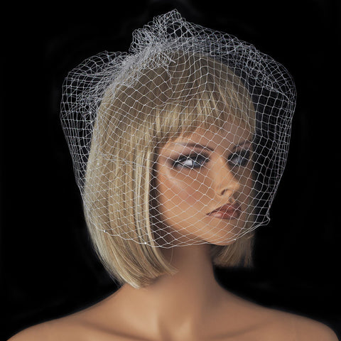 Beaded, Birdcage & Blusher Veil, Cut, Face, Ivory, Rhinestones, Veil, White
