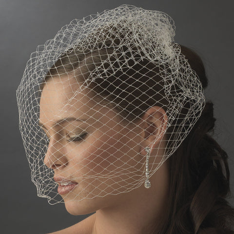 Birdcage & Blusher Veil, Black, Cut, Face, Ivory, Veil, White