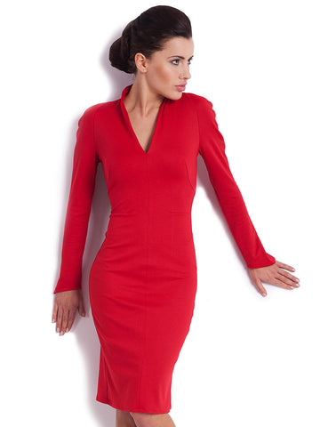 Long Sleeve Red Collared Dress