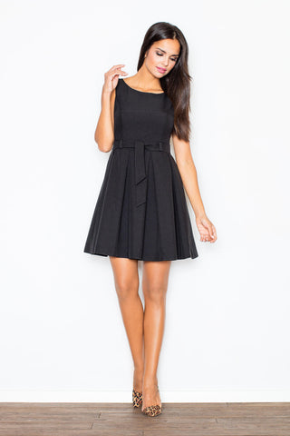 Above Knee Sleeveless Black Baby Doll Dresses with Pleates and Belt