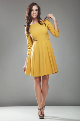 3/4 Inch Sleeve Mustard Skate Dress