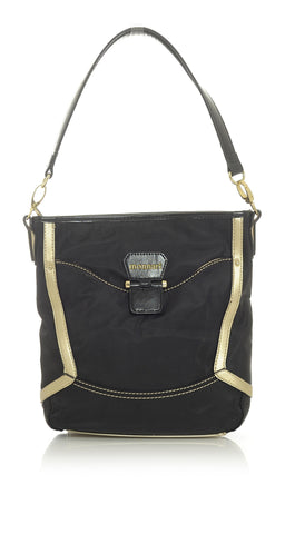 Black Tote Handbag with Golden Champagne Trim