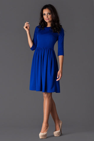 Blue 3/4 Inch Sleeve Dancer Style Swing Dress
