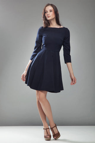 3/4 Inch Sleeve Dark Blue Skate Dress