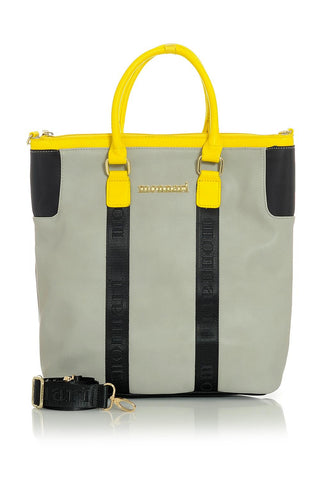 Gray Handbag with Bright Yellow and Black Accent Trim