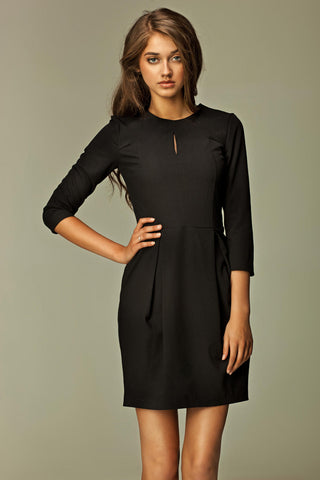 Black Pleated Key Hole 3/4 Inch Sleeved Dress