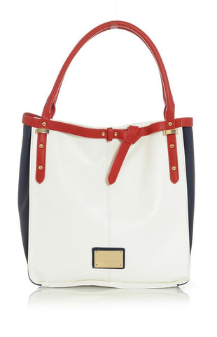 White Tote Handbag with Blue and Red Trim