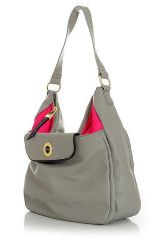 Gray Satchel Handbag with Hot Pink Interior Accents