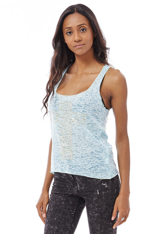 Burnout Racerback Tank Top with Love and Peace Print-Sky Blue-S/M - UK (8-10)