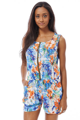 Tropical Print Playsuit-Blue-XL/XXL - UK (12-14)