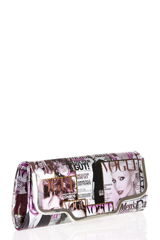 Vogue Photo Print Clutch Bag-Purple