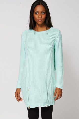 Baggy Zip Hem Knitted Jumper Dress -Green-XS