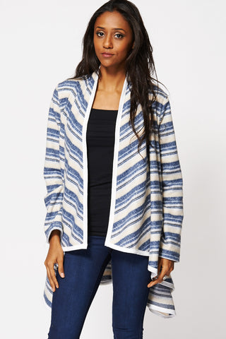 Multi-Coloured Stripe Asymmetric Hem Open Cardigan-Blue -18