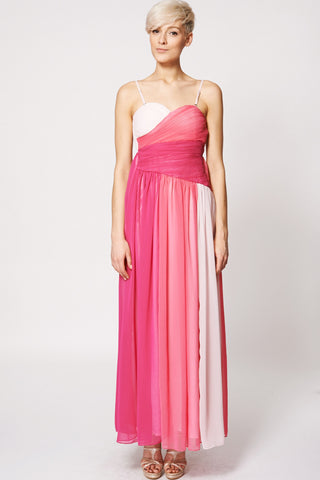 Chiffon Mix Colour Pleated Top Evening Dress-Pink-L