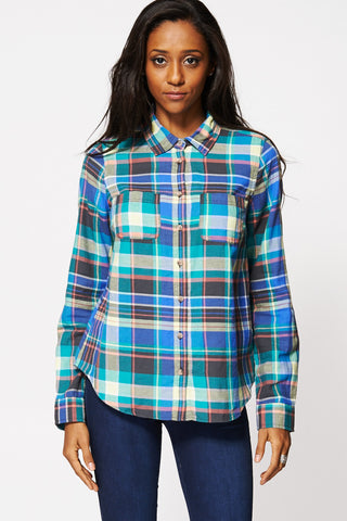 Cotton Checked Button Up Shirt-Multi-XL