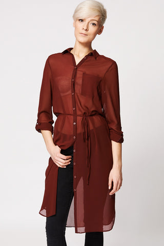 Chiffon Sheer Button Up Tunic Top In Burgundy-Burgundy-14