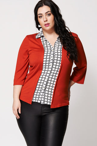 Patterned Front Shirt And Cardigan Two-In-One -Orange-26/28