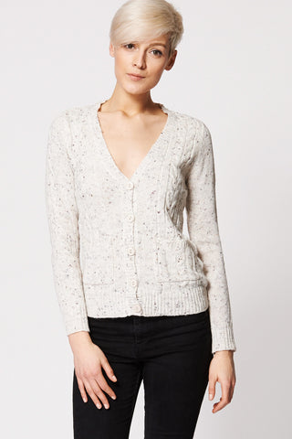 Cable Mix Knit Button Up Cardigan-Cream-L