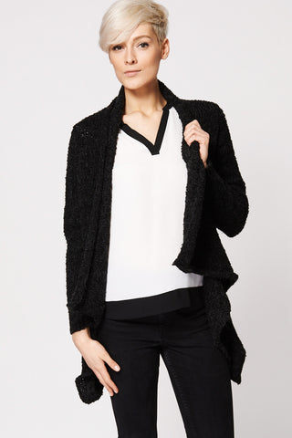 Warm Textured Waterfall Open Cardigan-Black-M