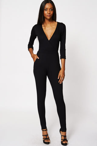 Black Cross Over Belted Jumpsuit Ex-Branded-Black-14
