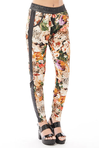 Loose Fitting Floral Trousers with Wet Look Detail-Black-L/XL - UK (12-14)