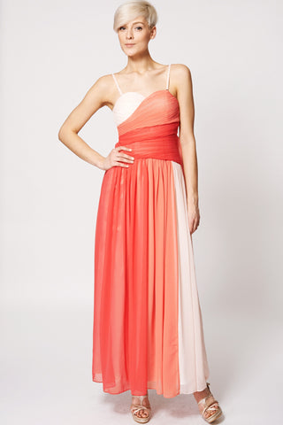 Pleated Top Mix Colour Evening Dress-Coral-M