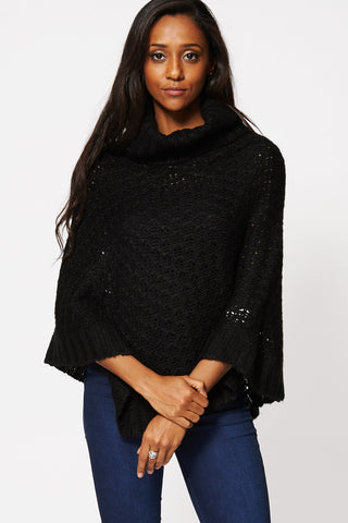 Black Chunky Neck Asymmetric Hem Poncho-Black-One Size