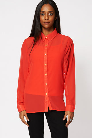 Deep Red Chiffon Button Up Shirt With Camisole Top Ex-Branded-Red-16