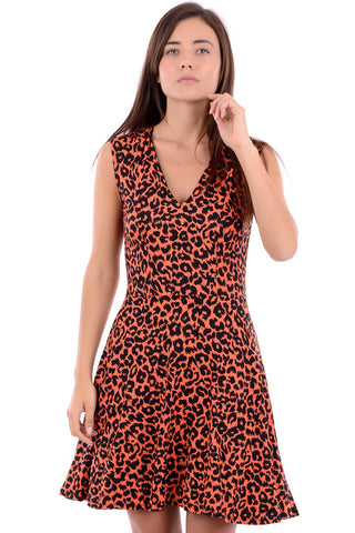 Sleeveles Orange Leopard Print Dress