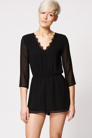 Lace V-neck Sheer Sleeve Playsuit Ex-Branded-Black-12