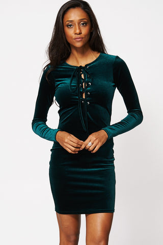 Deep Green Lace Up Velour Bodycon Dress Ex-Branded-Green-14