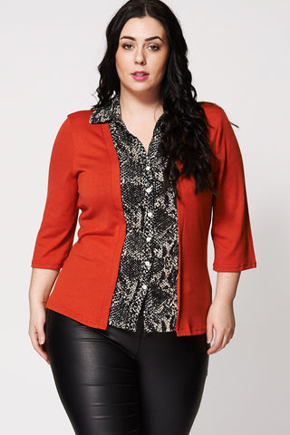 Snake Skin Print Front Shirt And Cardigan Two-In-One-Orange-16