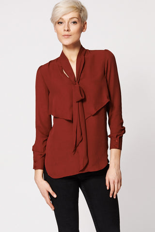 Double Layer Front Tie Neck Blouse Ex-Branded-Burgundy-L