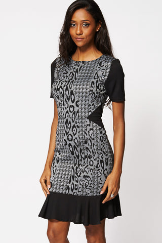 Patterned Short Sleeve Frill Hem Dress-Black-8