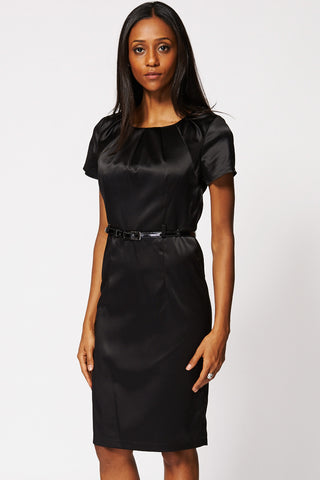 Black Elegant Pleated Neck Belted Midi Dress-Black-8