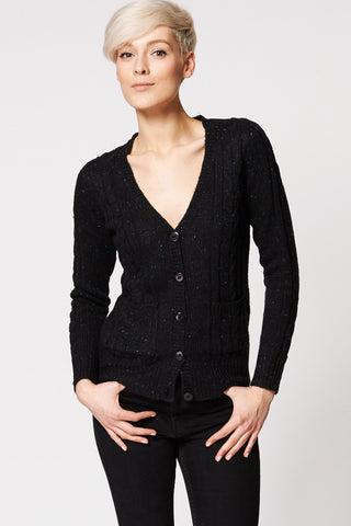 Cable Mix Knit Button Up Cardigan In Black-Black-L