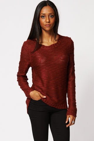 Burgundy Burnout Deep Hem Knitted Jumper Ex-Branded-Burgundy-L