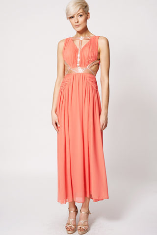Seed Beads Cut Out Design Evening Dress-Coral-M