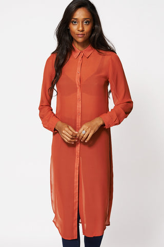 Burnt Orange Sheer Side Slit Tunic Top-Orange-14