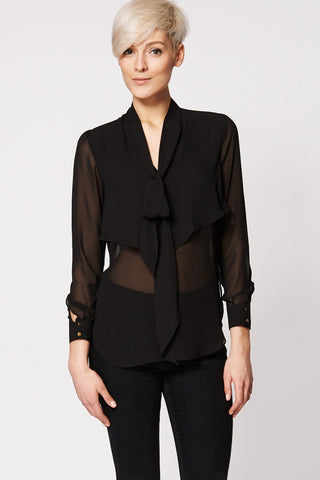 Black Double Layer Front Tie Neck Blouse Ex-Branded-Black-M