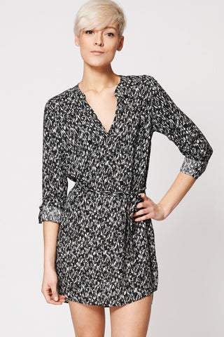Monochrome Patterned Tie Waist Tunic Dress Ex-Branded-Black-10