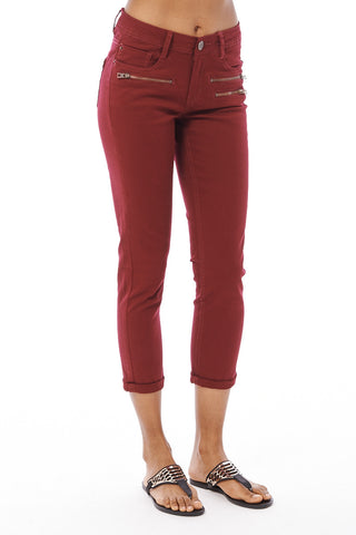 Cropped Jeans With Zip Detail-Brown-UK 6 - EU 34