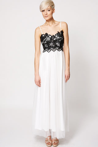 Black Crochet Top Shoulder Strap Tulle Evening Dress-White -L