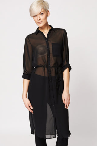 Chiffon Sheer Button Up Tunic Top-Black-14