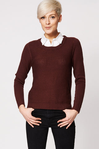 White Shirt Collar Knitted Jumper In Burgundy Ex-Branded-Burgundy-18