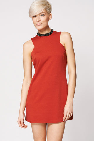 Burnt Orange Bodycon Dress With Rhinestone Detail Neck Ex-Branded-Orange-14