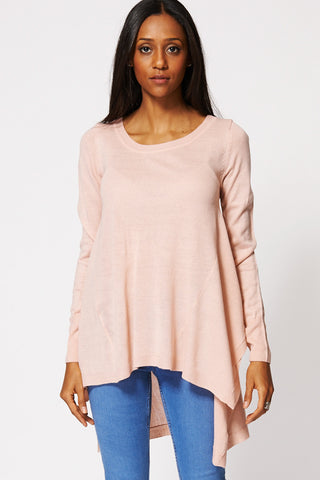 Asymmetric Fine Knit Jumper In Light Pink-Pink-XL