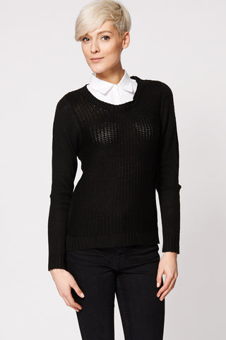 White Shirt Collar Knitted Jumper Ex-Branded-Black-18