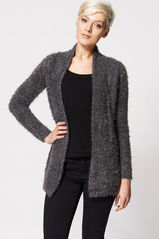 Soft Fluffy Open Cardigan-Black-L