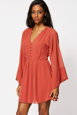 Terracotta Pleated V-neck Chiffon Dress Ex-Branded-Orange-12